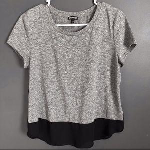EXPRESS Grey & Sheer Black Short-Sleeve T-Shirt